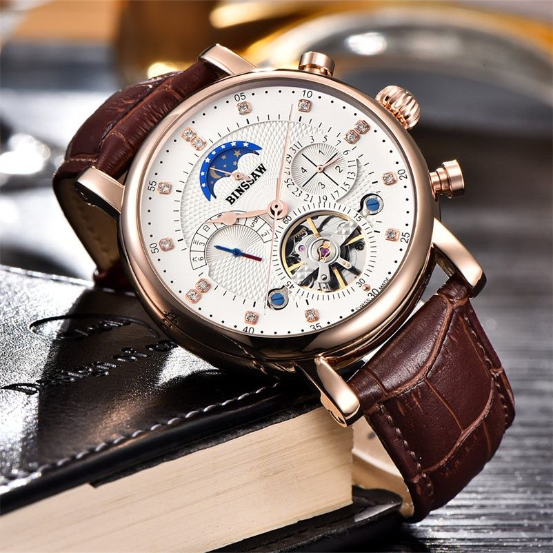 BINSSAW Mens Watches Top Brand Luxury Round Steel Case Watch Men Sport Tourbillon Mechanical Watch <font><b>Moon</b></font> Phase Clock New Horloge