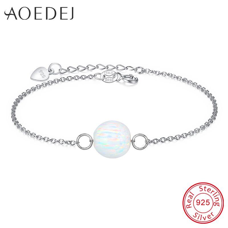 Blanc Opale de Feu Bracelet Argent 925 Chaîne Naturel Boule De Pierre Charms Bracelets Bracelets Pour Femmes Grils Femme Bracelets Bijoux