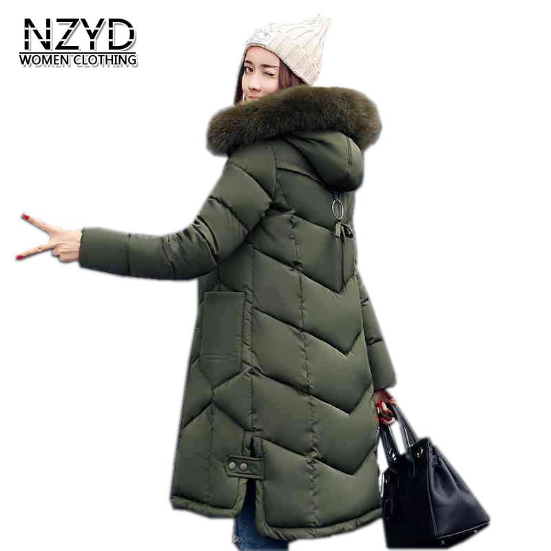 New Women Winter Coat 2017 Fashion Hooded Thickening Super warm Medium long Parkas Long sleeve Loose Big yards Jacket LADIES200