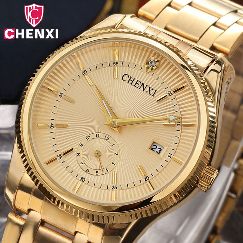 CHENXI Gold Watch Men Luxury Business Man Watch <font><b>Golden</b></font> Waterproof Unique Fashion Casual Quartz Male Dress Clock Gift 069IPG