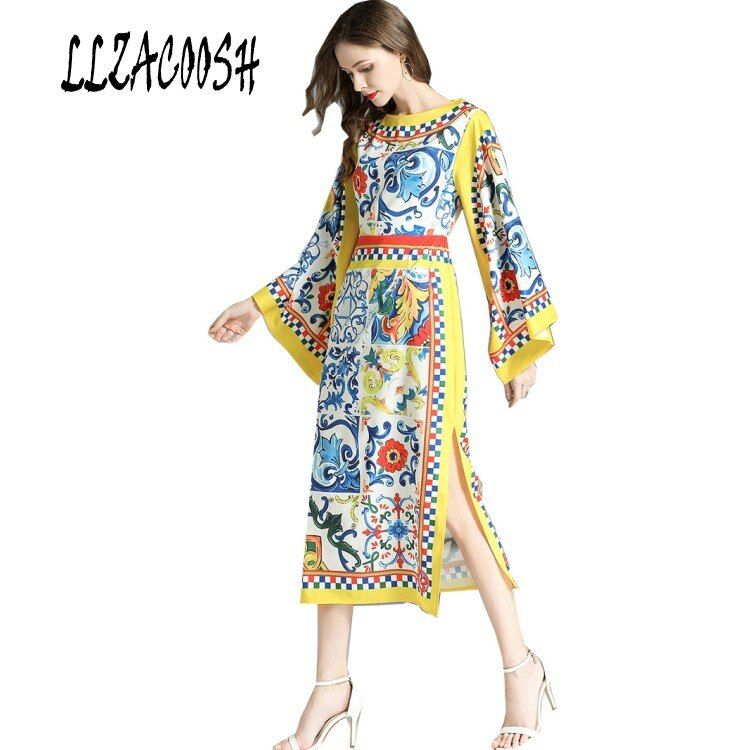 High quality 2018 Fashion Runway Designer Dress Women's Flare Long Sleeve Flower Printed Casual holiday Dresses