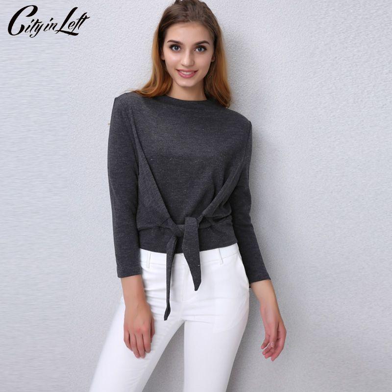 2018 Autumn Fashion Women Blouse Front Ties Long Sleeve Slash Neck Top Shirt Blouse Grey Camel Color Female Camisa Clothing 1117