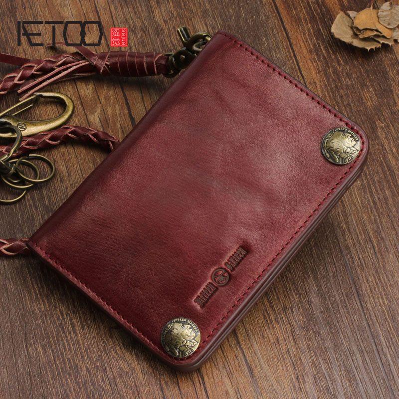 AETOO Original retro multifunktionale diebstahlkette rind vertikalen brieftasche buckle karte geldbörse männer und frauen brieftasche