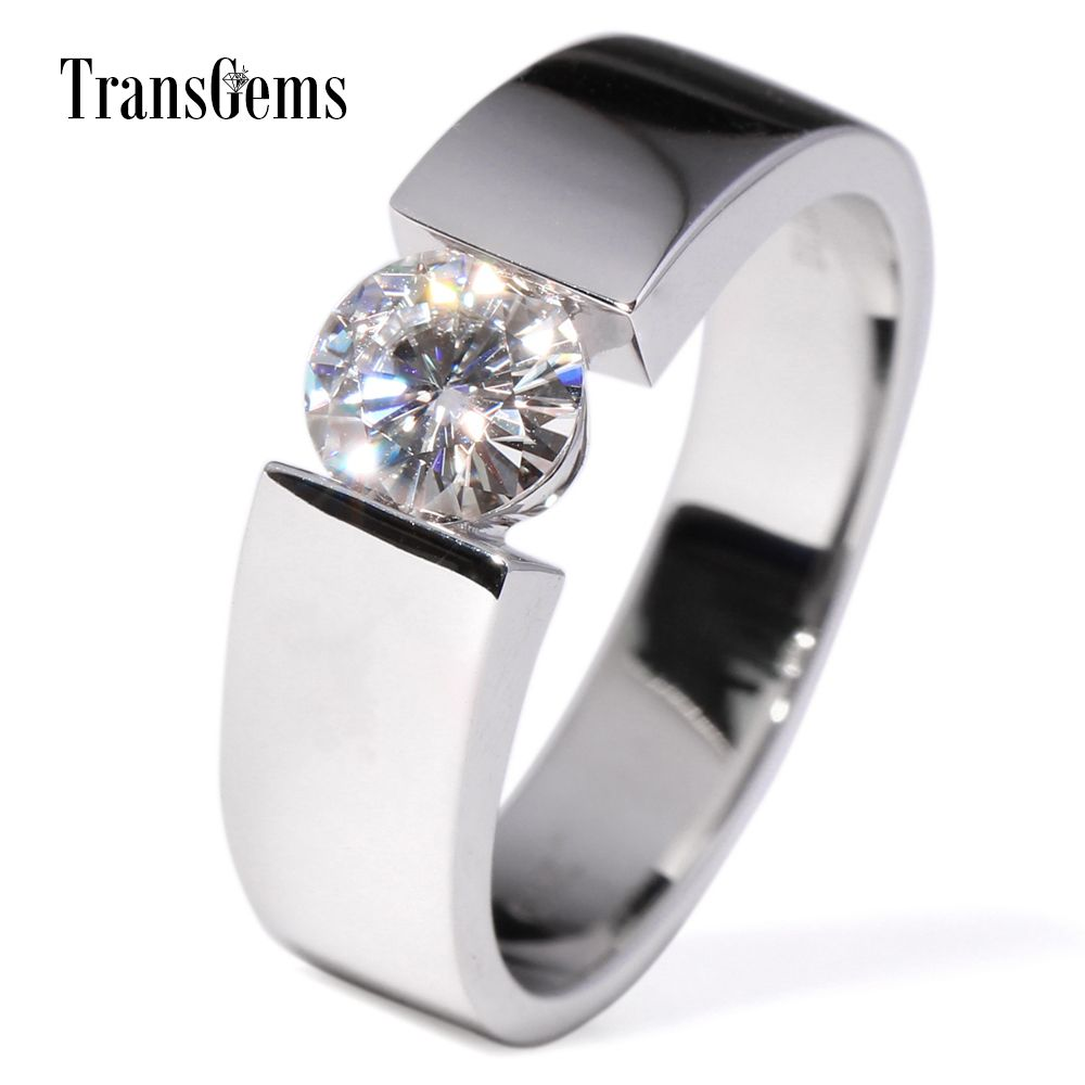 TransGems 1 Carat Lab Grown Moissanite Diamond Solitaire Wedding Band 14K White Gold Engagement Ring for Men and Women Lovers