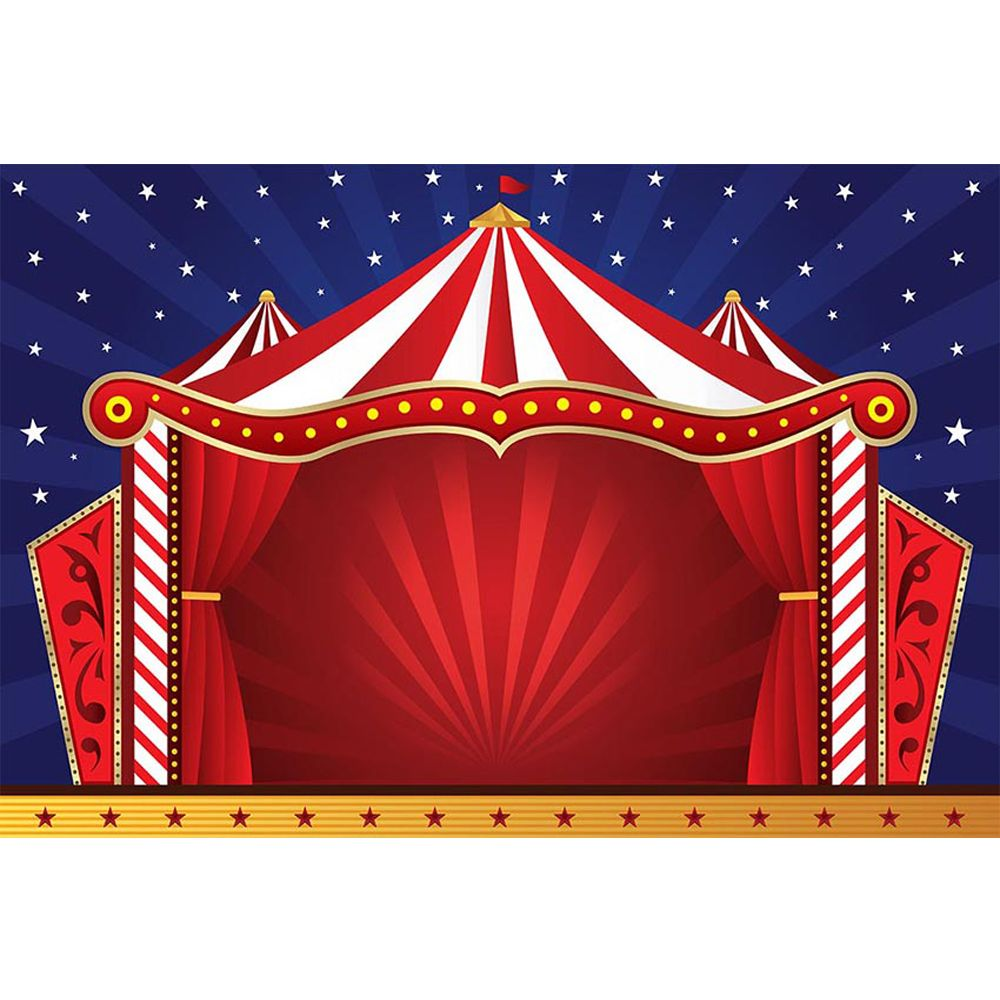 Carnival Circus Birthday Party Backdrop Printed Red Tent Blue Sky Stars Baby Shower Props Kids Stage Photo Booth Background