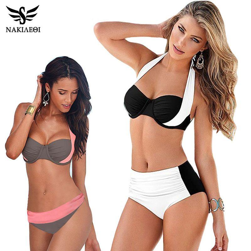 NAKIAEOI 2018 Nouveau Sexy Bikinis Femmes Maillot de Bain Taille Haute Maillots de Bain Swim Halter Push Up Bikini Ensemble Plus La Taille Maillots De Bain 4XL
