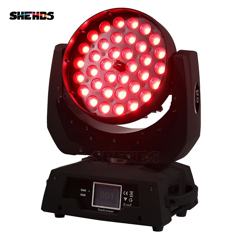 2pcs/lot LED Zoom Wash 36x18W RGBWA+UV Color DMX Stage Touch Screen LED Moving Head Wash Light Good for DJ Disco Party And Clubs
