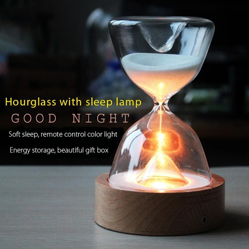 Glass Hourglass Lights Timer LED Sand Glass Night Light Sleep Helper with Remote Control for Christmas Birthday Gifts Home Decor