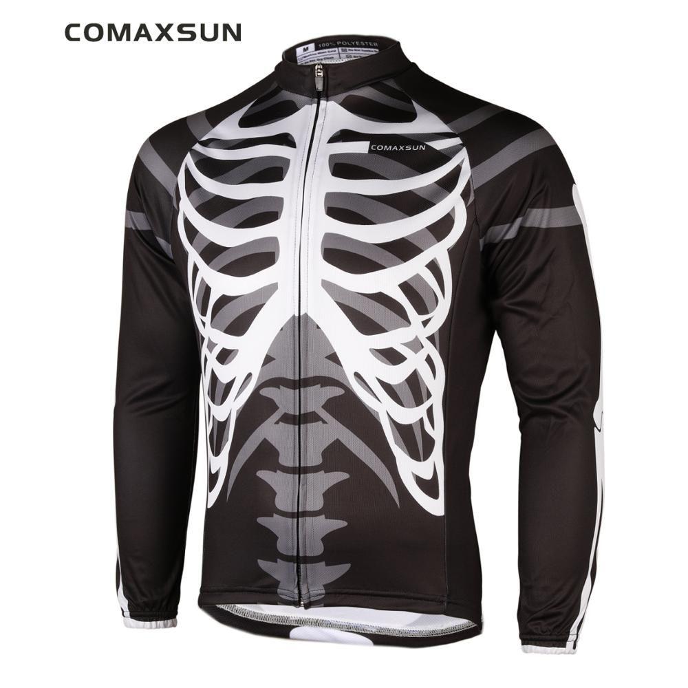 COMAXSUN hommes manches longues cyclisme Jersey chemises seulement EOCLJ06 squelette