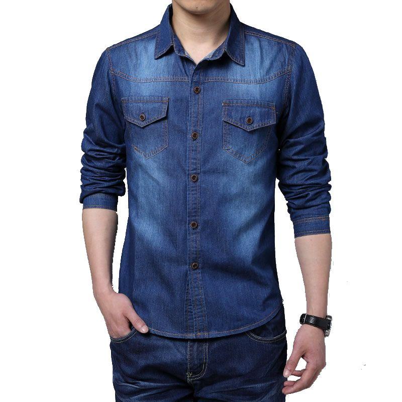 Nouveau 2016 printemps homme robe chemise Camisa Jeans Masculino Slim Fit décontracté hommes Camisas Social à manches longues hommes Denim chemises