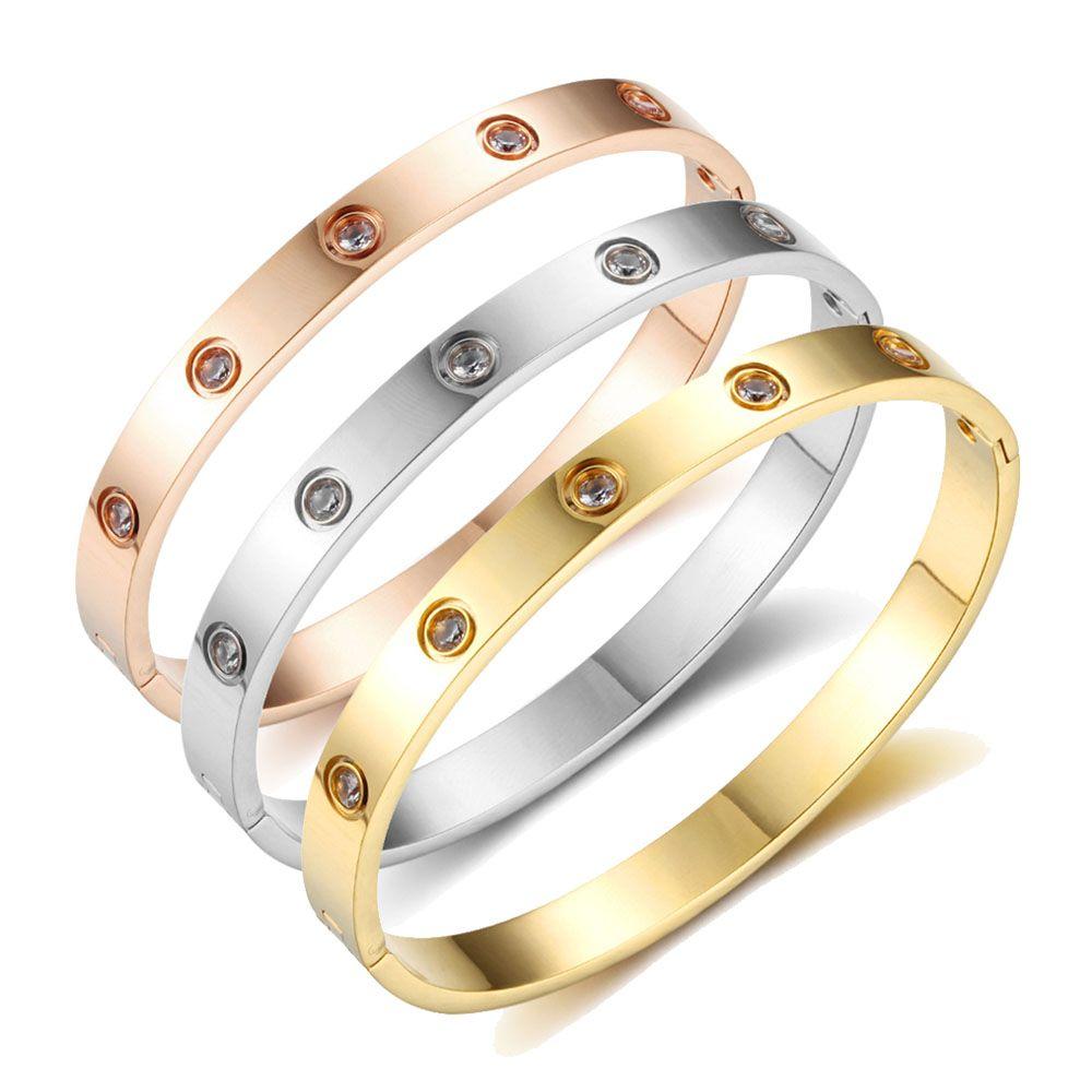 Vis Bracelets Pour Les Femmes Amant En Acier Inoxydable Bracelets & Bangles Cristal Or Couleur Femmes Bijoux Cadeau (BA101759)