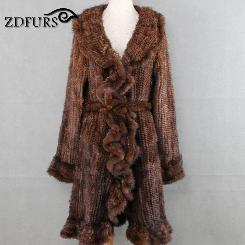 ZDFURS * Luxury Women Genuine Mink fur ruffle design Knitted Mink Fur Coat Jackets Natural fur Outerwear Overcoat Long female