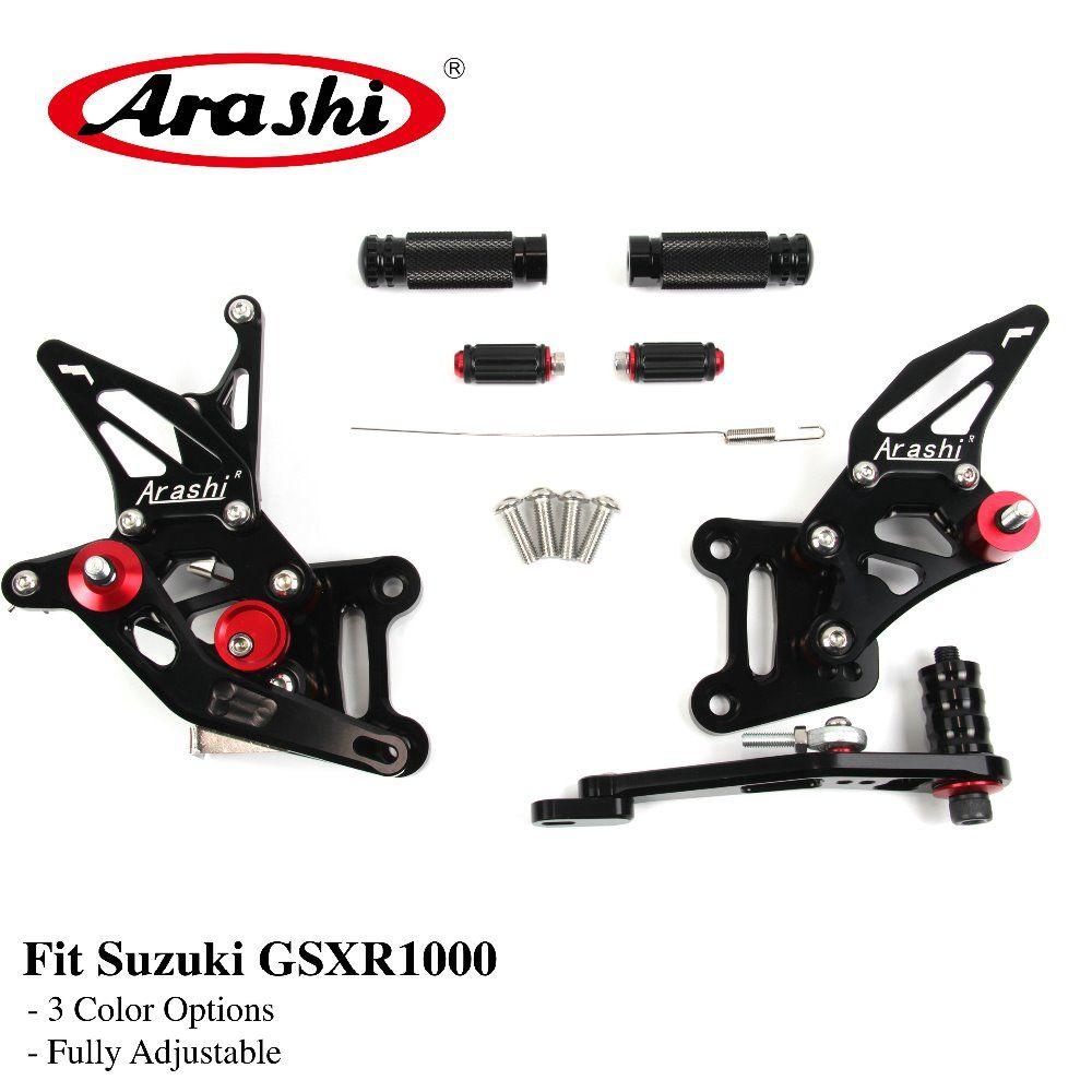 Arashi GSX-R1000 2017 2018 CNC Adjustable Footrests Foot Pegs Rider Rearset Footrest For SUZUKI GSXR1000 GSXR 1000 GSX1000R