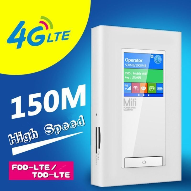 For USA/Canada/Mexico 4G LTE Wireless Router 5200mAh Power Bank 150Mbps 3G Mobile Wifi Hotspot with RJ45 LAN 2*SIM to 10 users