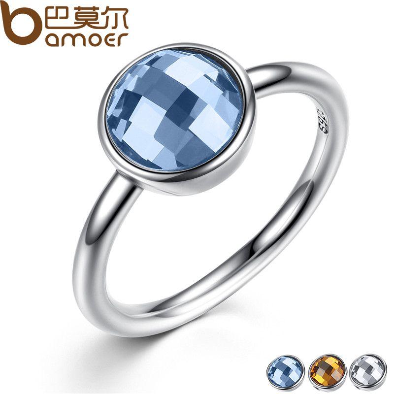 BAMOER D'été Collection Pur 925 Sterling Argent Anneaux Bleu Imité Pierre Doigt Anneau Femmes Beaux Bijoux PA7183