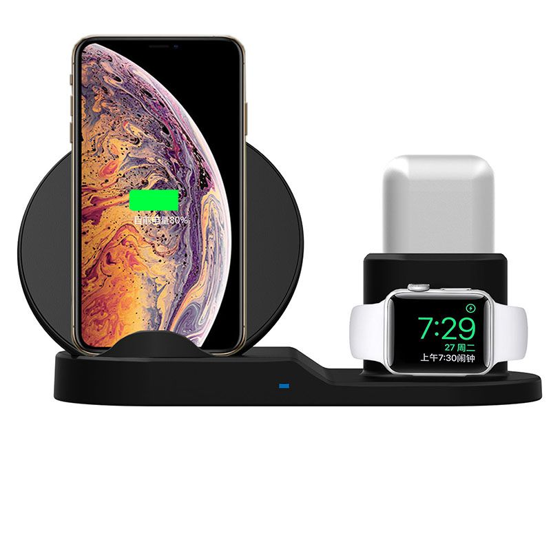 Fast Charge Wireless Charger For Iphone XS XR XS Max 3 In 1 Wireless Charger Dock Station For Apple Watch Series 1 2 3 Airpods
