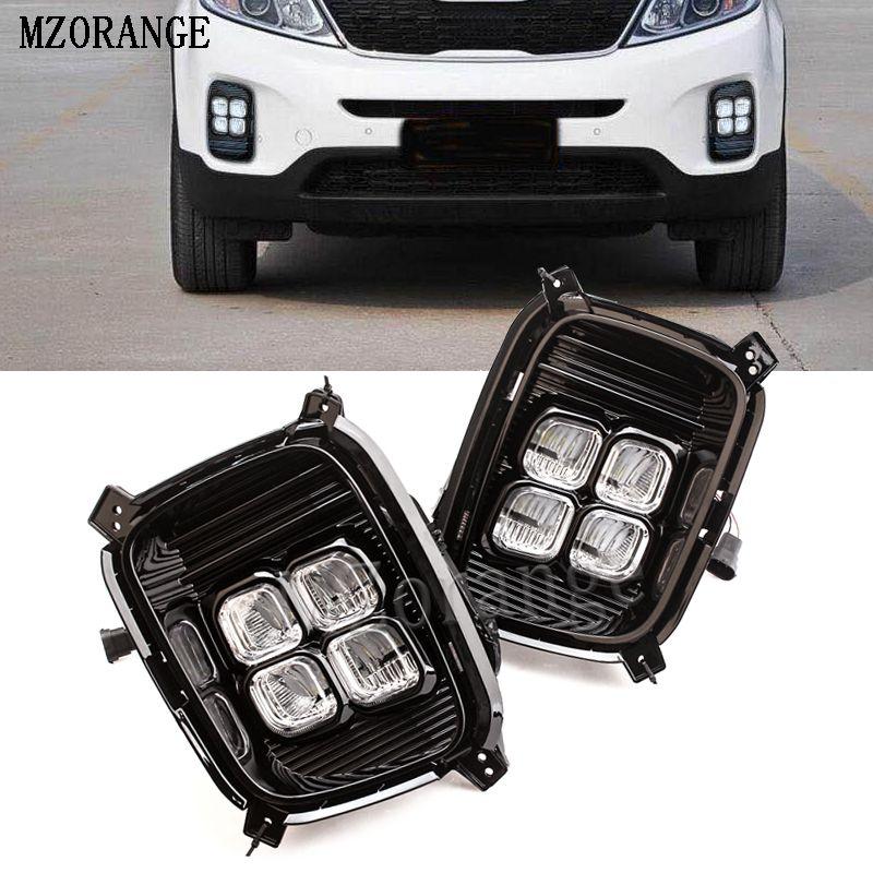 MZORANGE DRL Daytime Running Light For KIA Sorento 2012 2013 2014 1set LED Daylight Waterproof 12v fog lamp car Styling lights