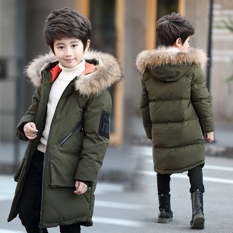Boys Winter Tops Feather Down Jackets Thicken Warmly Fur Hooded Children Coat Big Boys 16 14 12 10 years Kids Winter Coats
