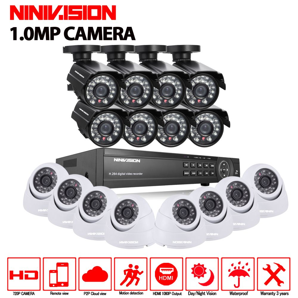 CCTV System AHD 1080P Hybrid DVR 16CH Surveillance Security KIT With 16pcs 1.0MP Bullet Dome AHD indoor outdoor camera 1TB HDD