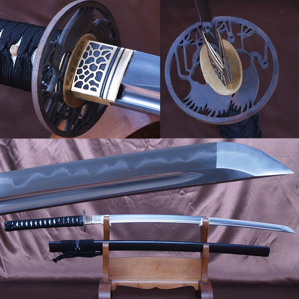 Battle Ready Japanese Samurai Sword Katana Full Handmade Folded Steel Clay Tempered Espada Full Tang Cutting Practice Knife