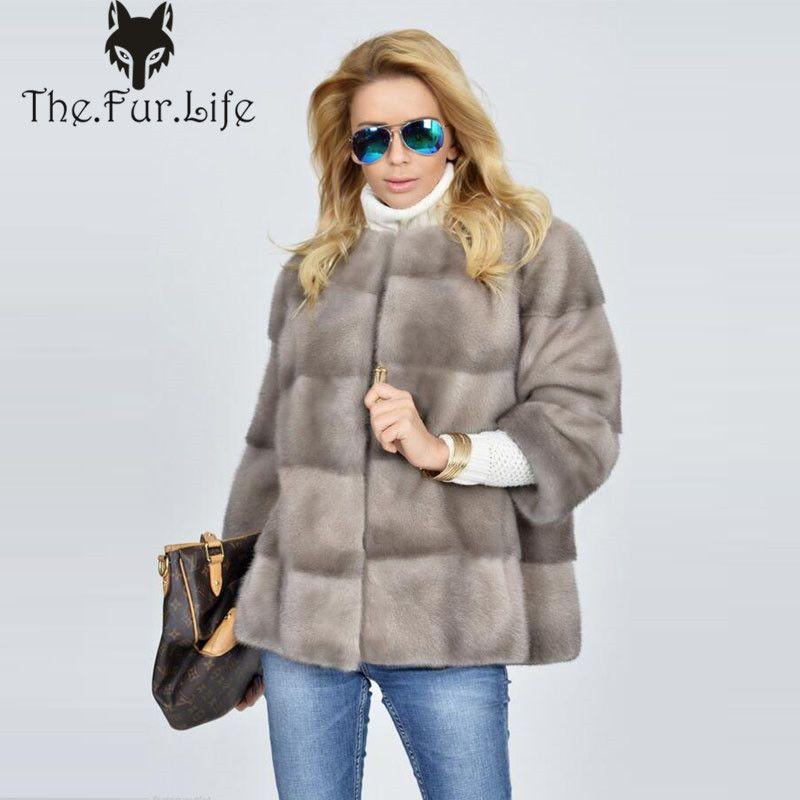Big Verkauf Neue Real Nerz Mantel Für Frauen Warme Runde Kragen Mode Voll Pelt Nerz Pelz Jacken und Mäntel förderung