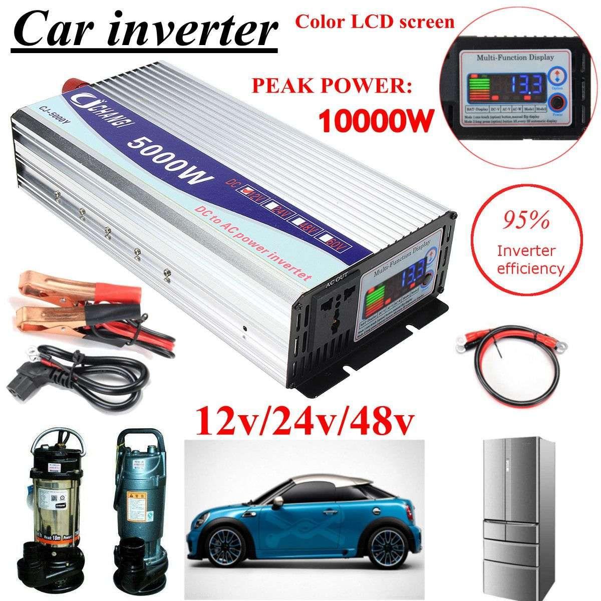Inverter 12V/24V/48V 220V 5000W 10000W Peak- Modified Sine Wave Power Voltage transformer Inverter Converter + LCD display