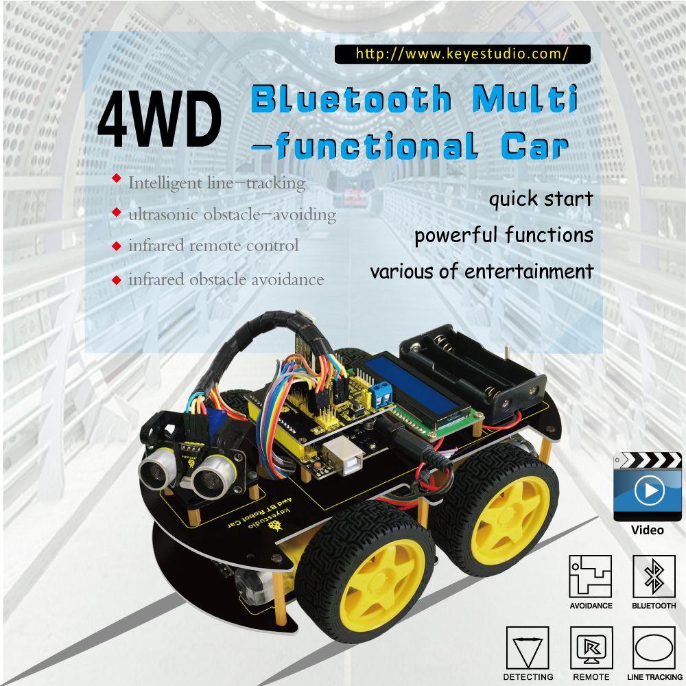 Keyestudio 4WD Bluetooth Multi-functional DIY Smart Car kit +User Manual+PDF+ Video+screwdriver For Arduino Robot Car Starter