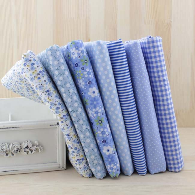 7pcs 50cm X48cm-50cm Free Shipping Plain Thin Patchwork Cotton Dobby Fabric Floral Series Blue Charm Quarters Bundle Sewing