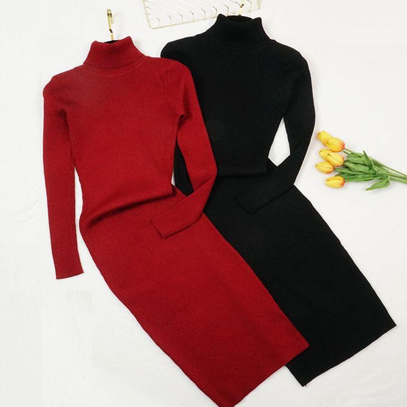 Automne hiver femmes tricoté robe col roulé pull robes dame Slim moulante à manches longues robe de fond Vestidos PP021