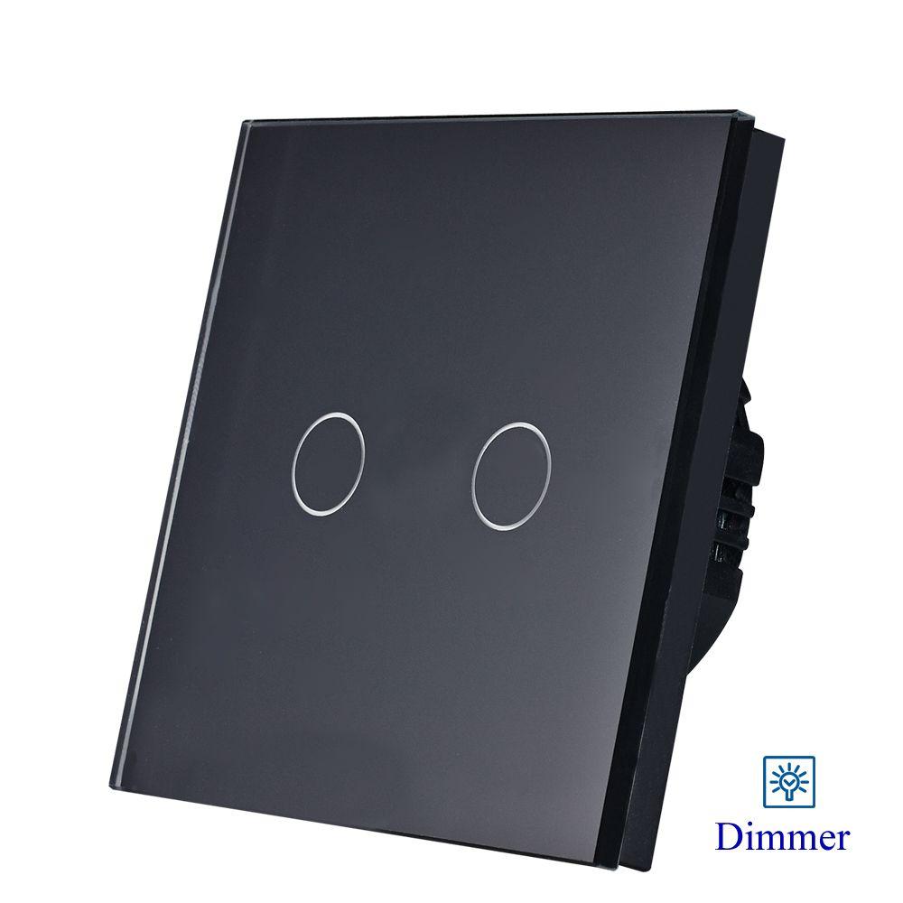 2gang dimmer light switch,2gang1way touch sensor dimmer switch EU/UK standard AC110-250V