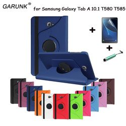 Pour samsung galaxy tab a a6 10.1 2016 sm-t580 t580n t585 t585c tablet case 360 degrés de rotation stand en cuir de protection couverture
