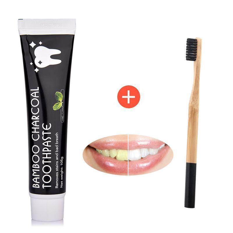 Soins des dents bambou naturel charbon actif blanchiment des dents noir dentifrice brosse à dents hygiène buccale livraison directe dentaire