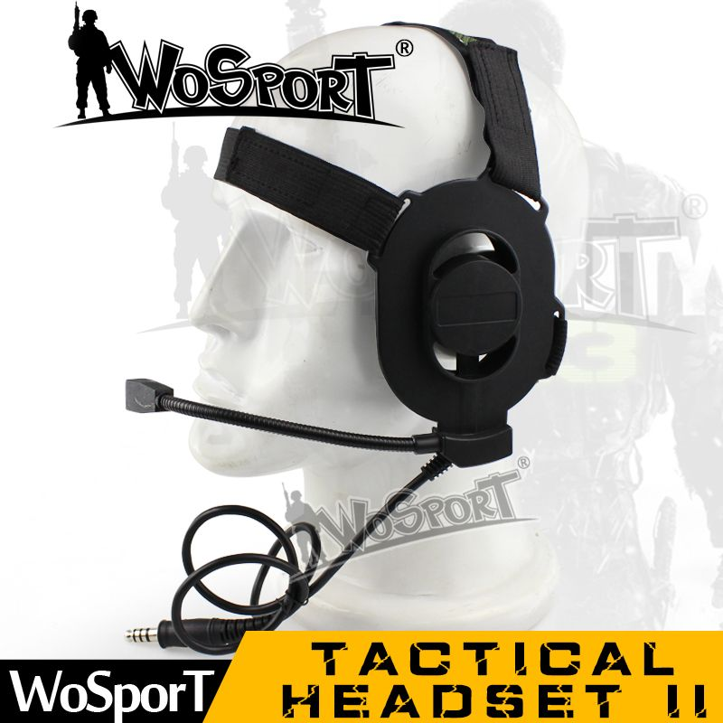 WoSporT Tactical Noise Reduction Headset II with Microphone used with PTT for Military CS Shooting Hunting Games Walkie Talkie