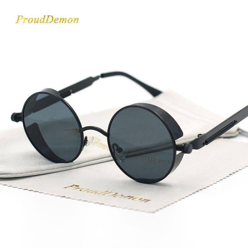 Gothic Steampunk Round Metal Sunglasses for Men Women Mirrored Circle Sun glasses Brand Designer Retro Vintage Oculos UV400