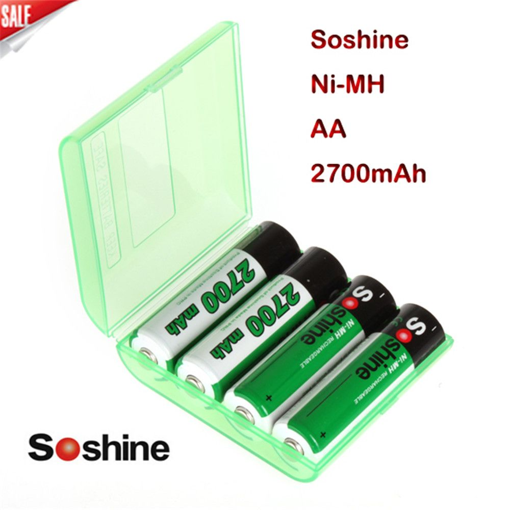 4pcs/<font><b>Pack</b></font> Soshine Ni-MH AA 2700mAh Rechargeable Battery 2A Batteries Batterij Bateria +Portable Battery Storage Holder Box