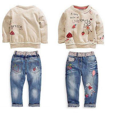 2 pcs enfants Bébé Casual Filles Tops + Jeans Denim Pantalon Ensemble Tenues Printemps Automne Vêtements