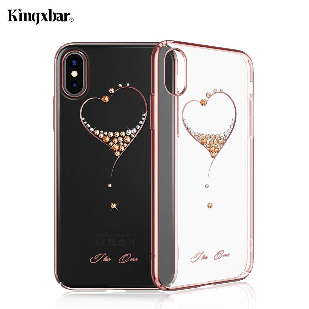 KINGXBAR pour iPhone X/10 Cas Cristaux De Swarovski PC dur Cristal Diamant Strass Cas pour l'iphone X Couverture Coque Funda