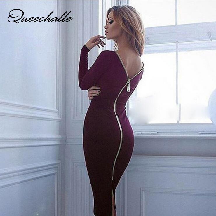 Queechalle Moulante robe fourreau Femmes à manches longues Retour Plein robe à glissière Sexy Femme Crayon robe serrée vin noir Rouge Kaki Bleu
