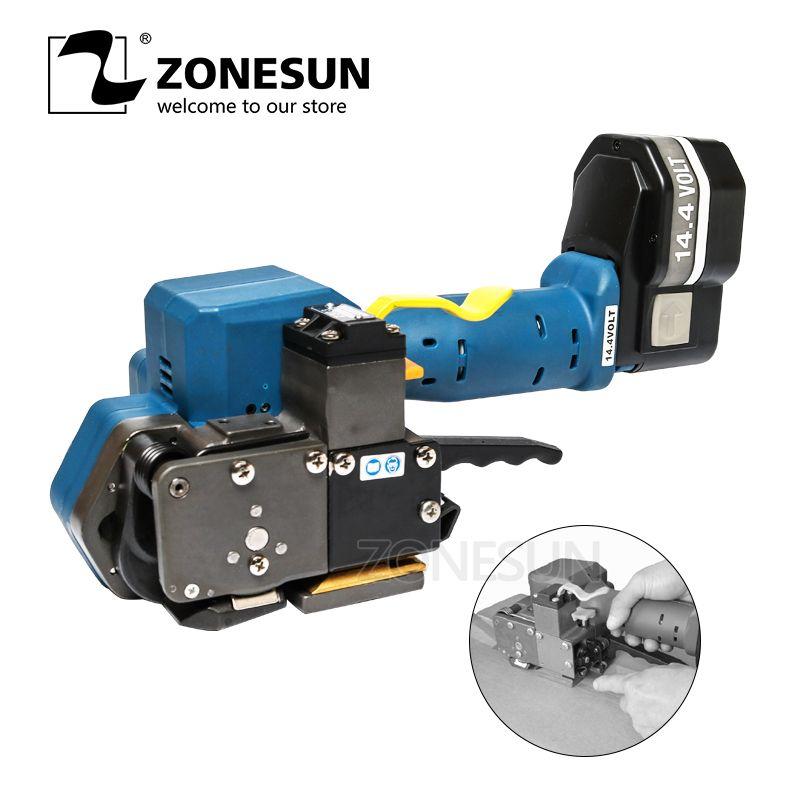 ZONESUN Z323 Tragbare Elektrische Umreifung Werkzeug Batterie Powered PET/Kunststoff Reibung Schweißen Handwerkzeuge Für 16-19MMPET & PP strap