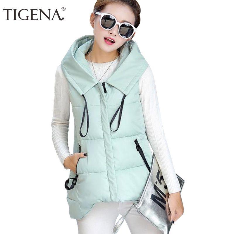 TIGENA Short Front Long Back Autumn Winter Vest Women Waistcoat 2017 Cotton Hooded Warm Sleeveless Jacket Coat Vest Female