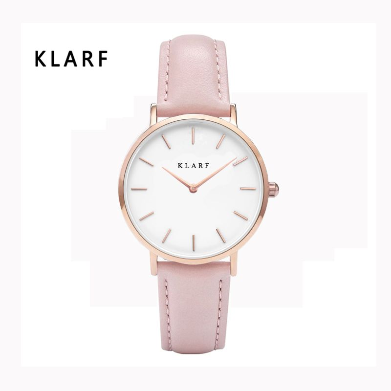 KLARF Popular Brand 30m Waterproof Watches For Women Round Case Analog Display Quartz Movement Brown Leather Relogio Feminino