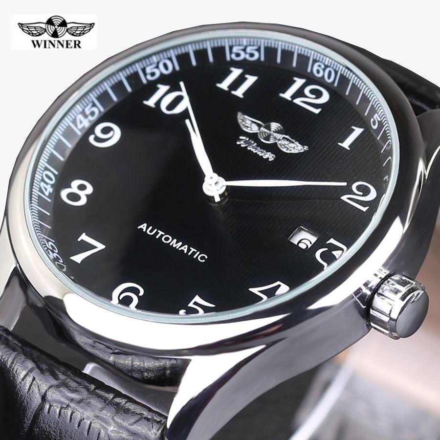 WINNER montres classique hommes automatique Date automatique montre mécanique AUTO-remontage analogique squelette noir cuir homme montre-bracelet