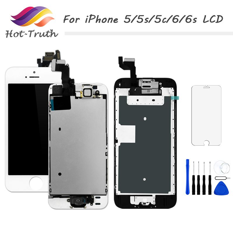 Hot-Truth For iPhone 5 5s 5c Screen For 6 6s LCD Display Home Button+Front Camera+Speaker Touchscreen Digitizer Assembly AAA