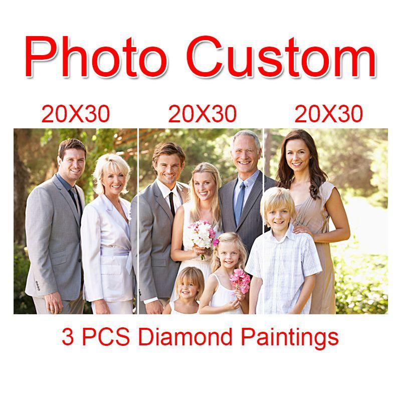 3 PCS Photo custom Diy diamond painting cross stitch make your own picture full drill Diamond Rhinestone diamond embroidery