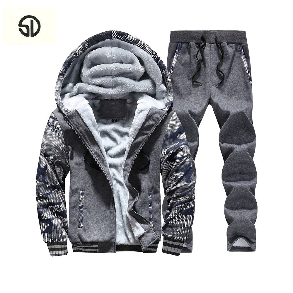 Tracksuit Men Plus Velvet Camouflage Army Casual Hooded Warm Hoodie Men Winter Thick Inner Fleece 2PC Pant Men Moleton Masculino