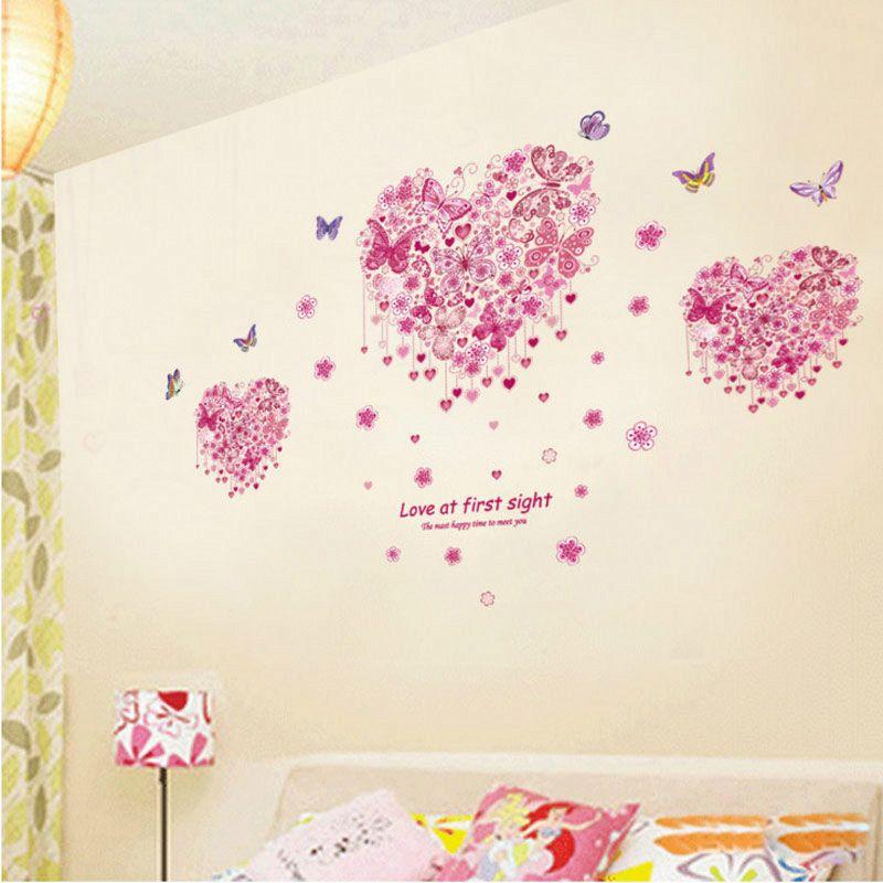 Fantastique papillons aimant coeur stickers muraux filles chambre décoration 3d mural art maison stickers cadeau saint valentin