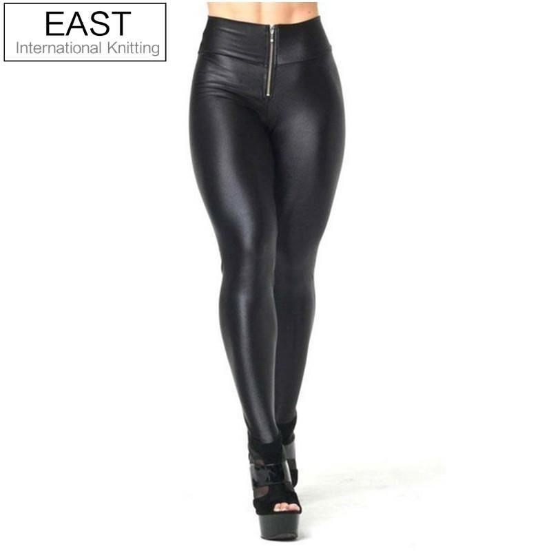 HOT! SEXY! A64 Women's Faux Leather Leggings Fashion Zip Up Patchwork Legging High-Waist Elastic Black Skinny  S-M L-XL