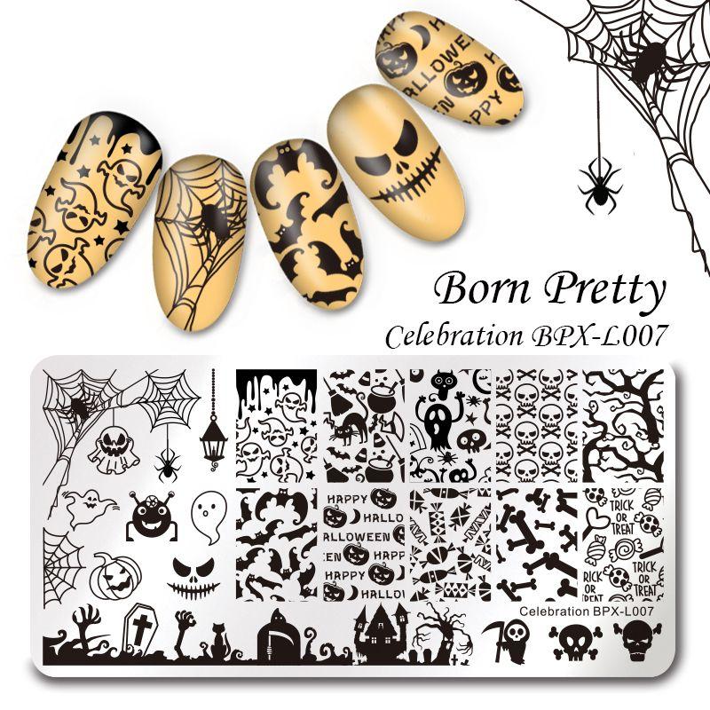 GEBOREN ZIEMLICH Halloween Rechteck Maniküre Stempel Vorlage 12*6 cm Nail art Bild Platte Feier BPX-L007
