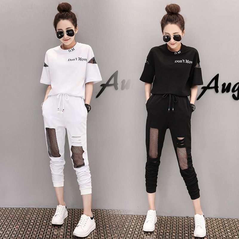 tracksuit for women 2018 summer female printed t-shirts +hole stitching grid pants suits women's fashion 2 piece sets