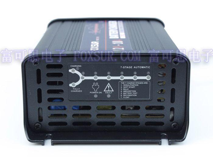 FOXSUR 12 V 10A chargeur de batterie au plomb intelligent à 7 étages, chargeur de batterie de voiture, contrôleur MCU, mainteneur de charge d'impulsion et déulfateur